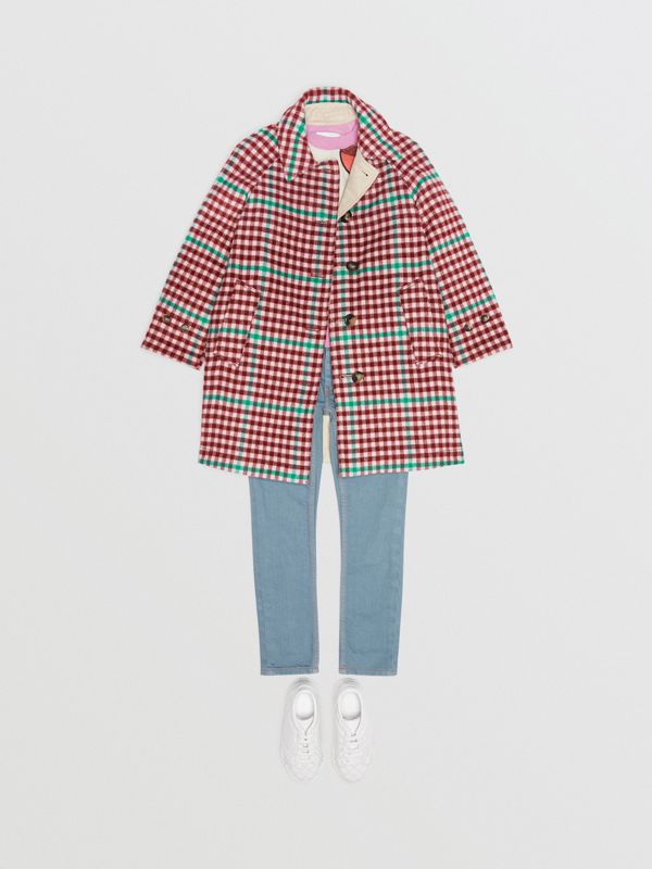 Reversible Check Wool and Cotton Car Coat in Garnet Pink - Children | Burberry - cell image 2