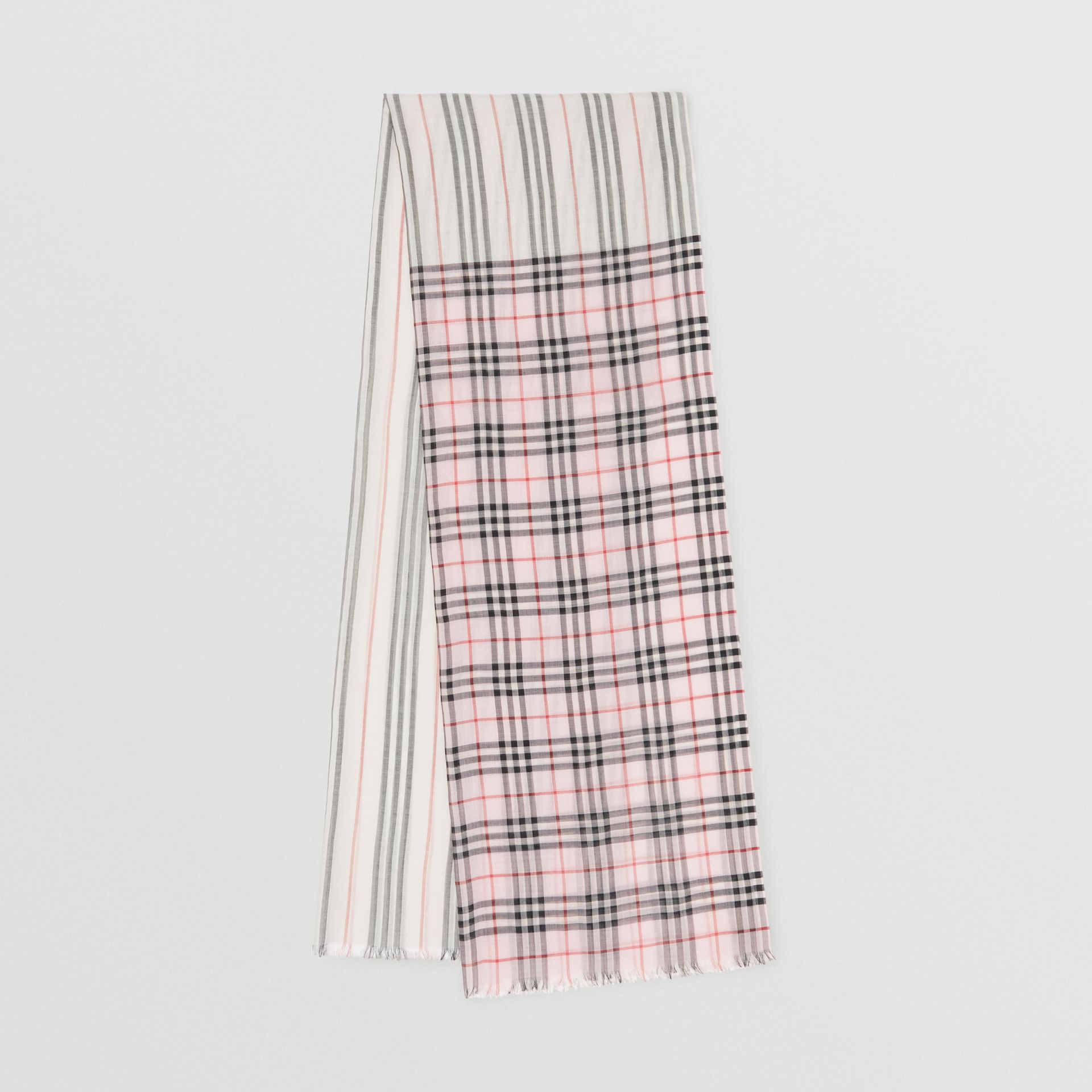 Icon Stripe and Vintage Check Wool Silk Scarf in Alabaster Pink | Burberry - gallery image 0