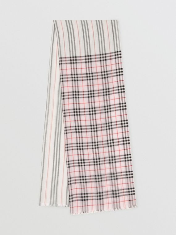 Icon Stripe and Vintage Check Wool Silk Scarf in Alabaster Pink