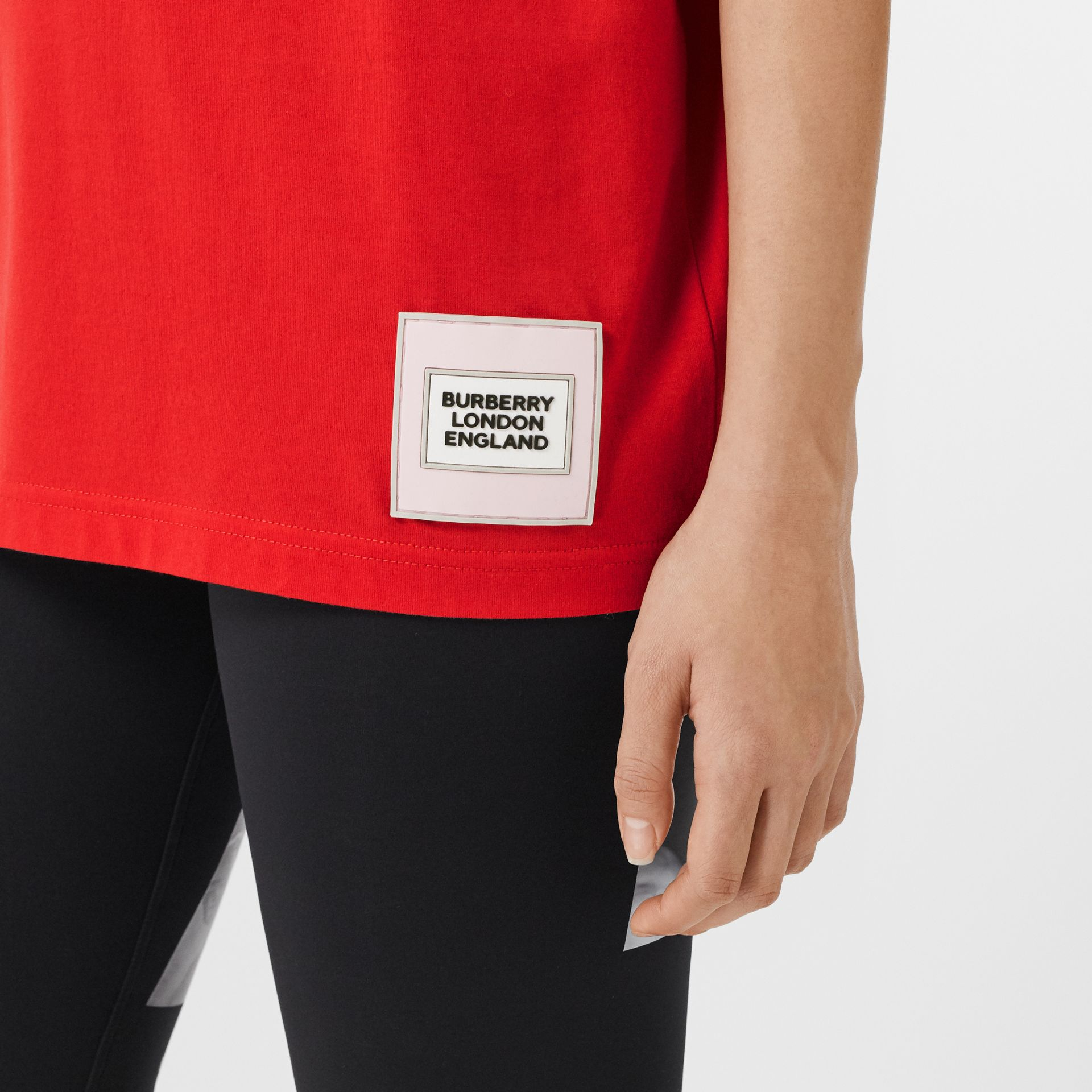 Quote Print Cotton Oversized T-shirt in Bright Red - Women | Burberry - gallery image 5