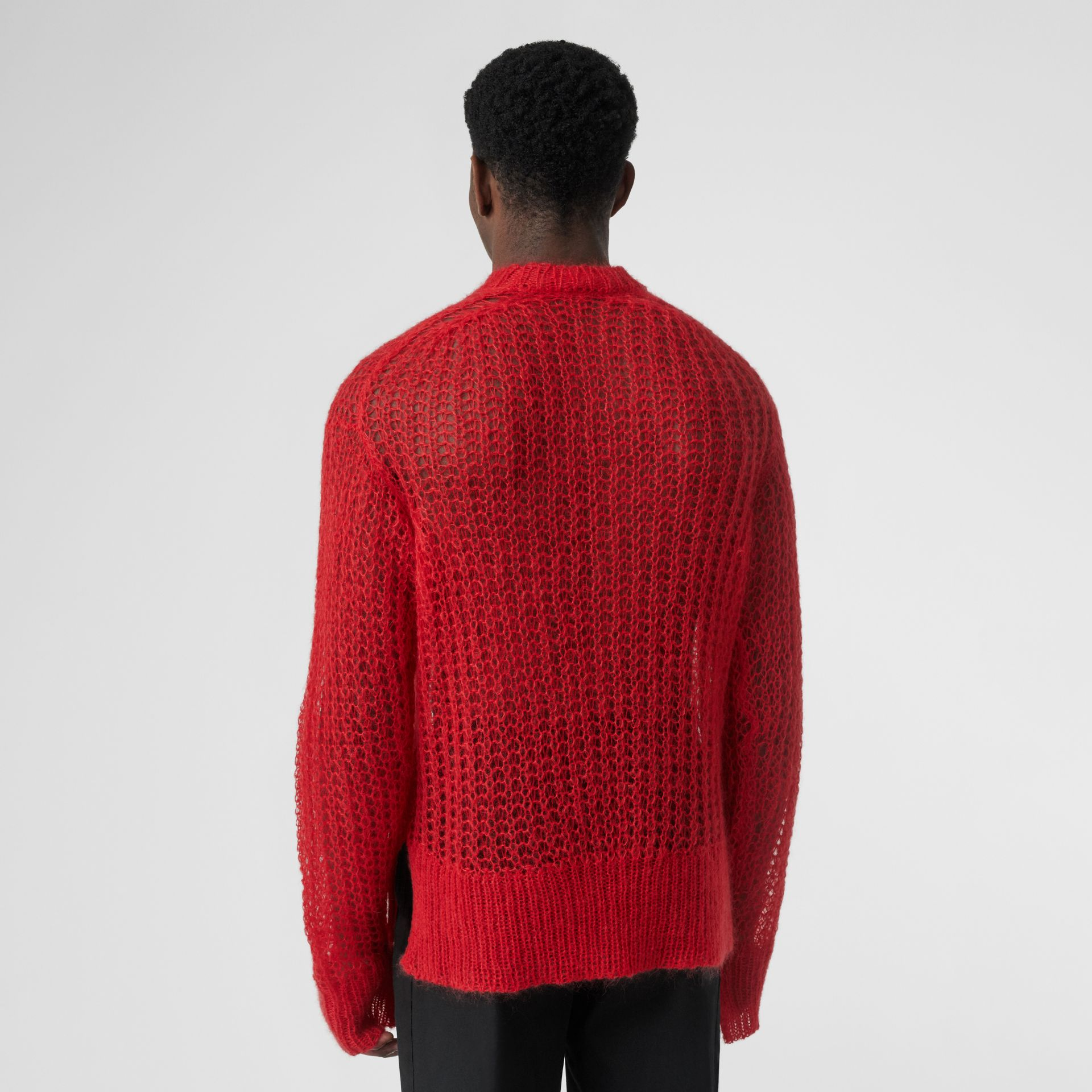 Open Knit Mohair Wool Blend Sweater in Bright Red | Burberry Singapore - gallery image 2