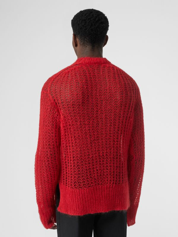 Open Knit Mohair Wool Blend Sweater in Bright Red | Burberry - cell image 2