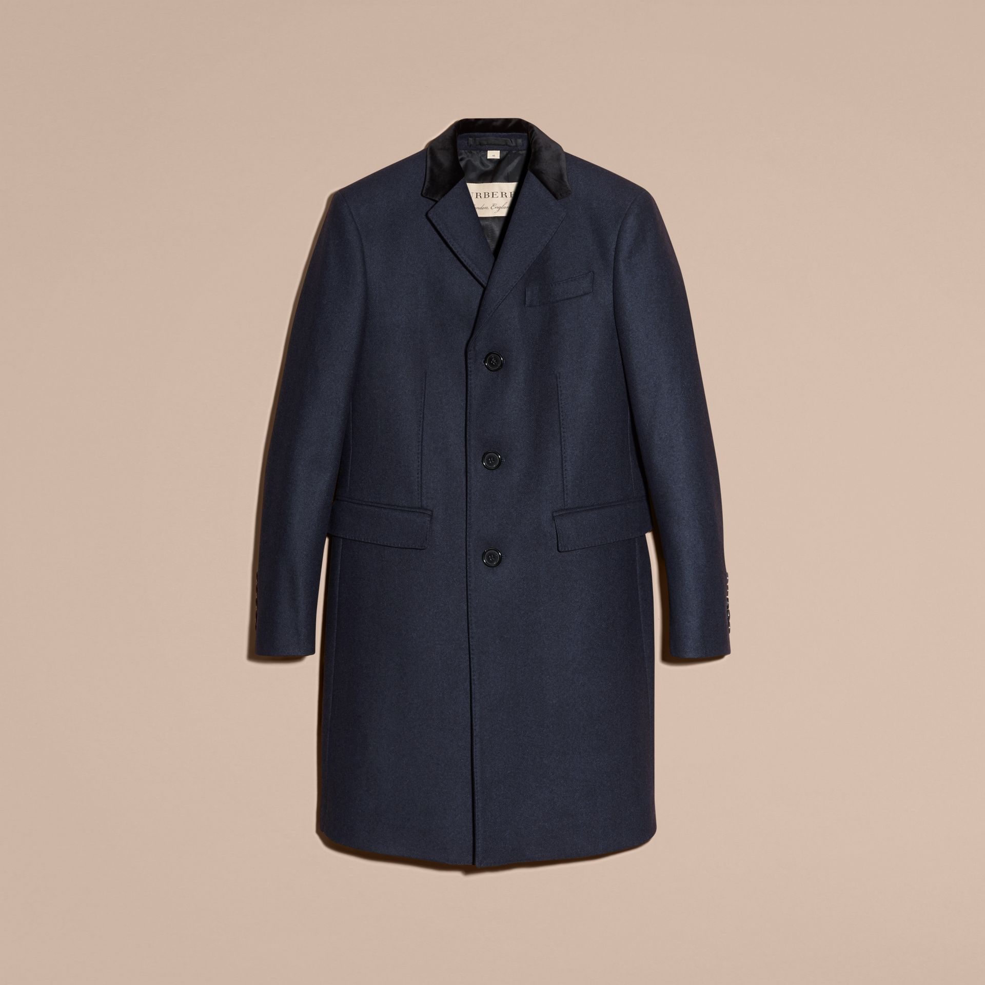 Storm blue Wool Cashmere Coat with Velvet Collar - gallery image 4