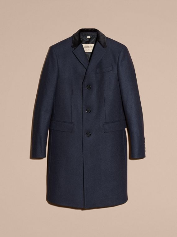 Storm blue Wool Cashmere Coat with Velvet Collar - cell image 3