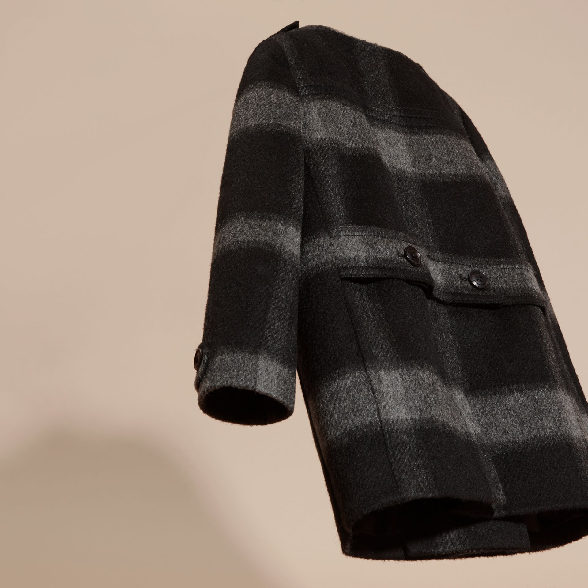 Dark charcoal Check Wool Blend Collarless Coat - gallery image 4