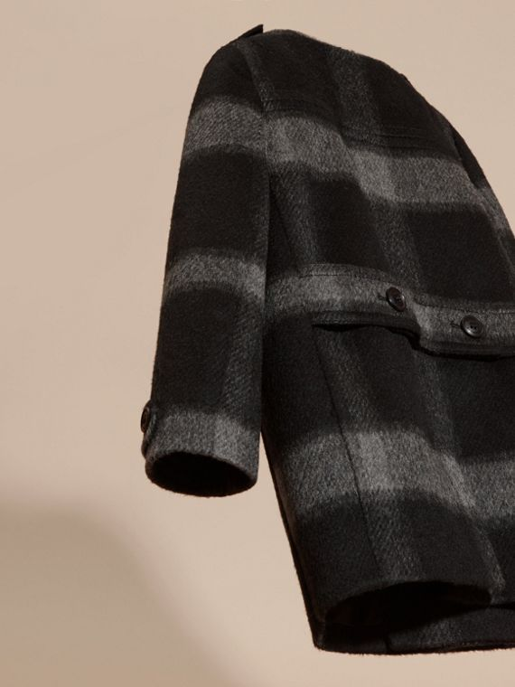 Dark charcoal Check Wool Blend Collarless Coat - cell image 3