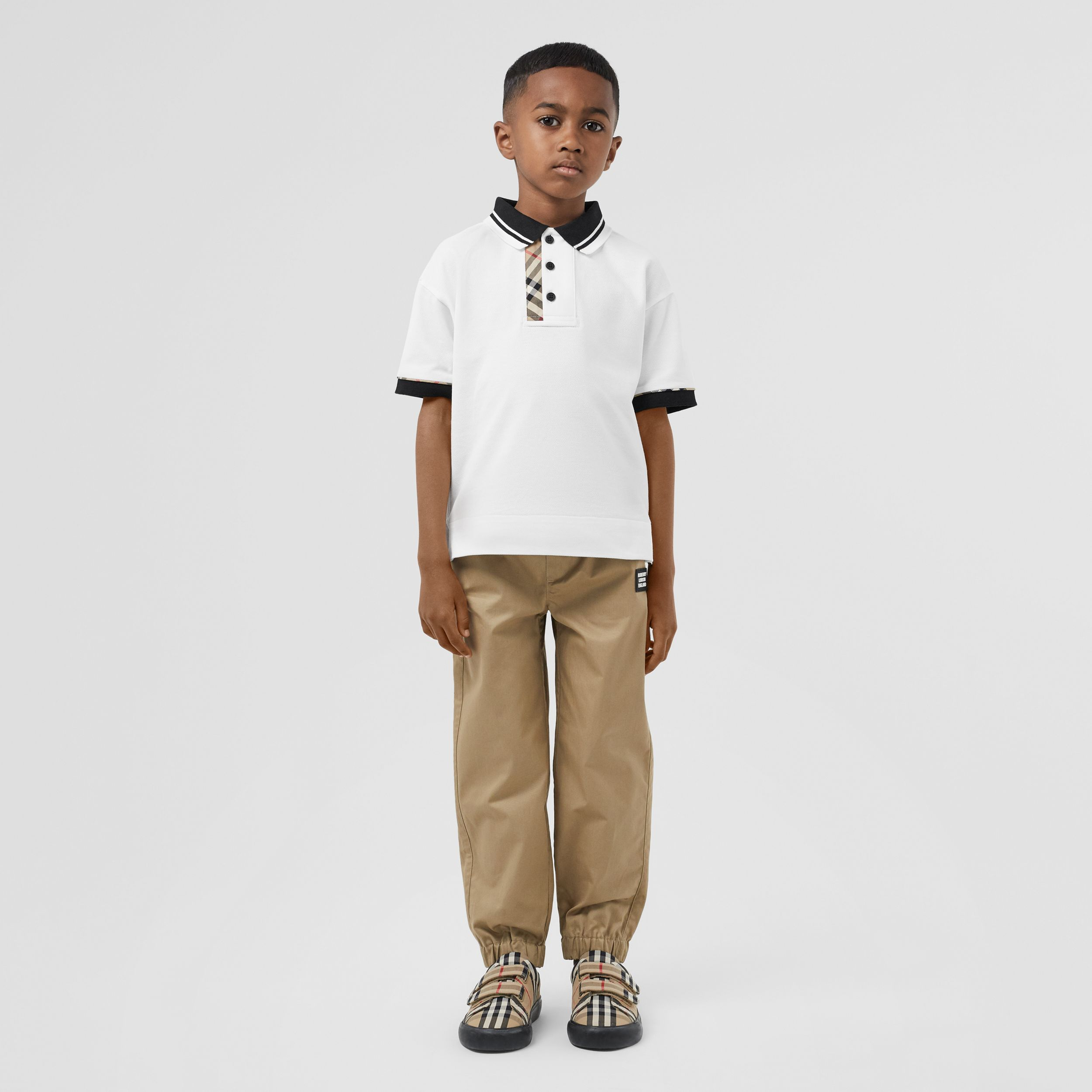 Vintage Check Trim Cotton Polo Shirt in White | Burberry - 3