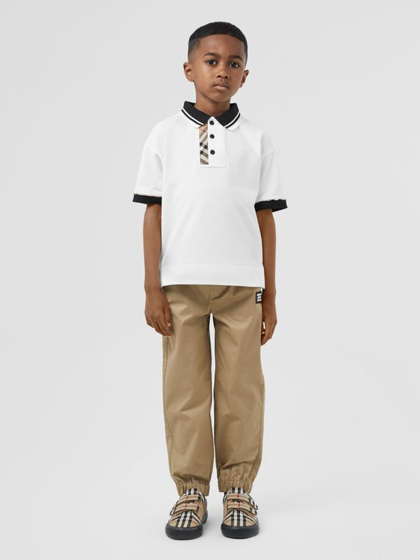 Vintage Check Trim Cotton Polo Shirt in White | Burberry United Kingdom - cell image 2