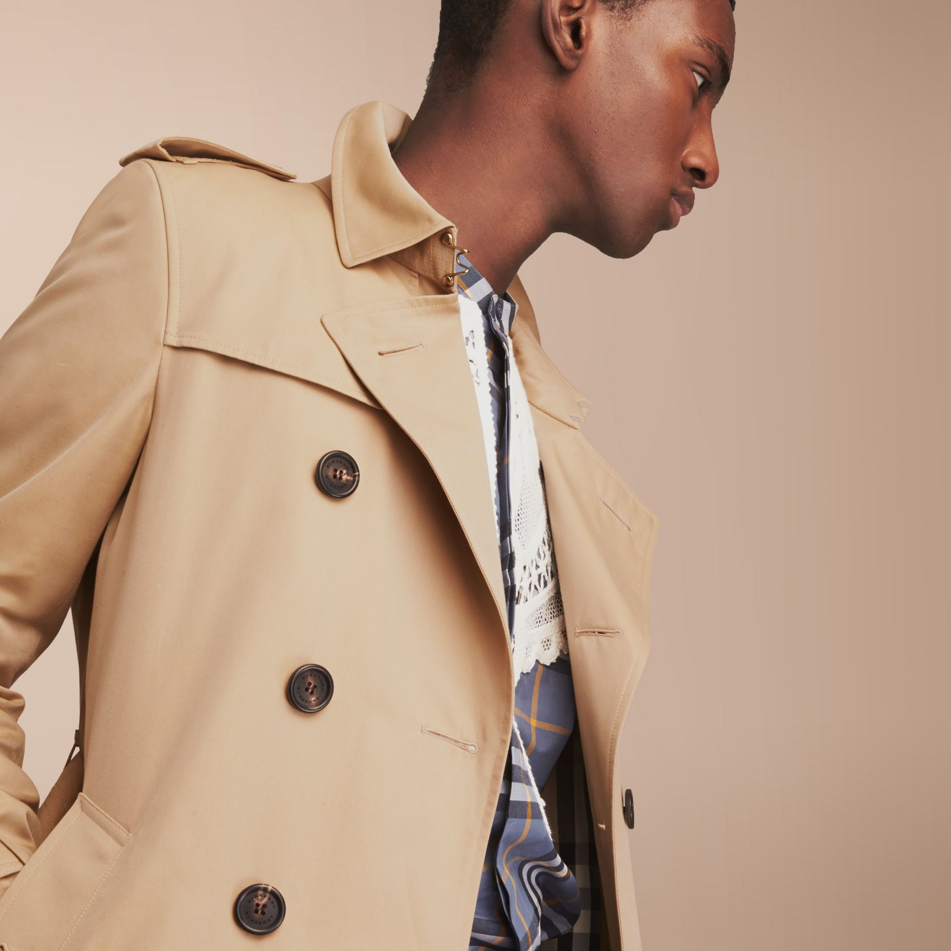 The Chelsea – Short Heritage Trench Coat in Honey - gallery image 6