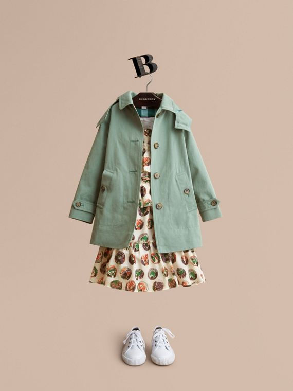 Detachable Hood Tropical Gabardine Trench Coat in Pale Eucalyptus