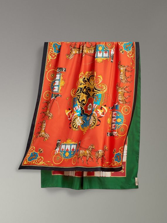 Archive Scarf Print Silk Oversized Scarf in Multicolour