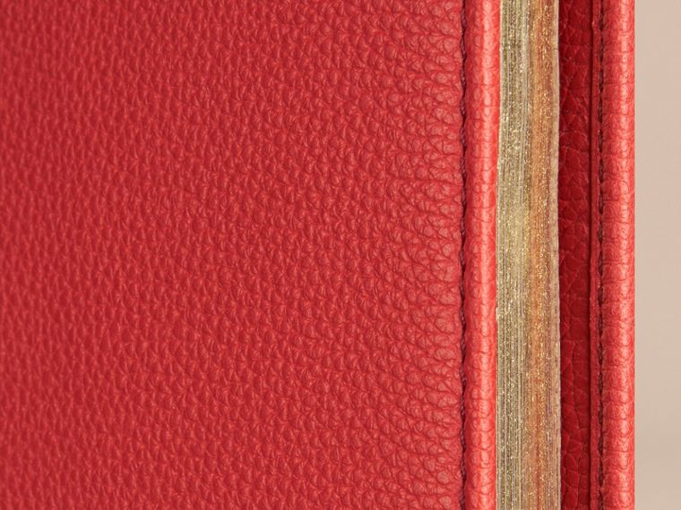Grainy Leather A4 Notebook in Orange Red | Burberry United Kingdom - cell image 1