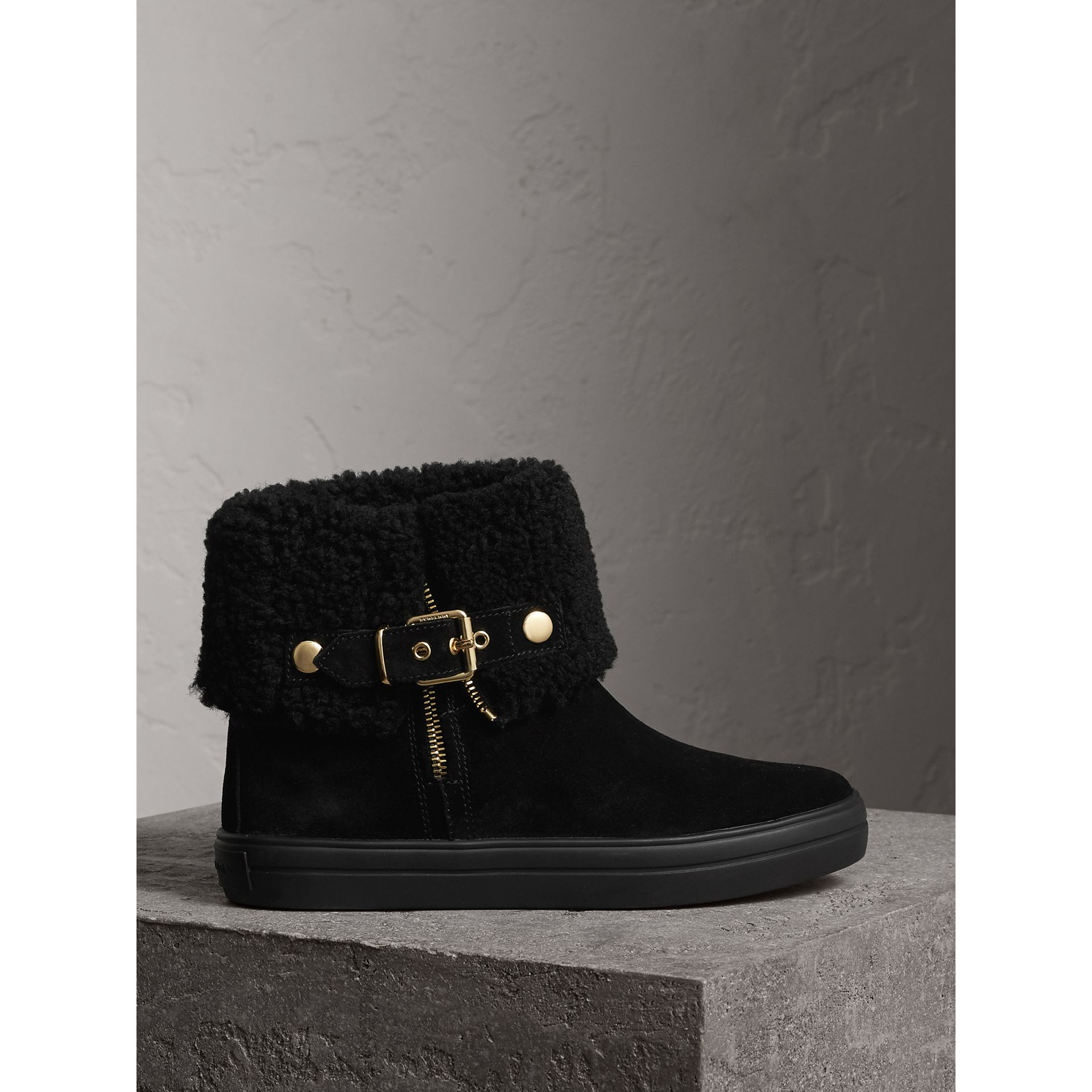 Shearling-lined Suede Ankle Boots in Black - Women | Burberry - gallery image 1