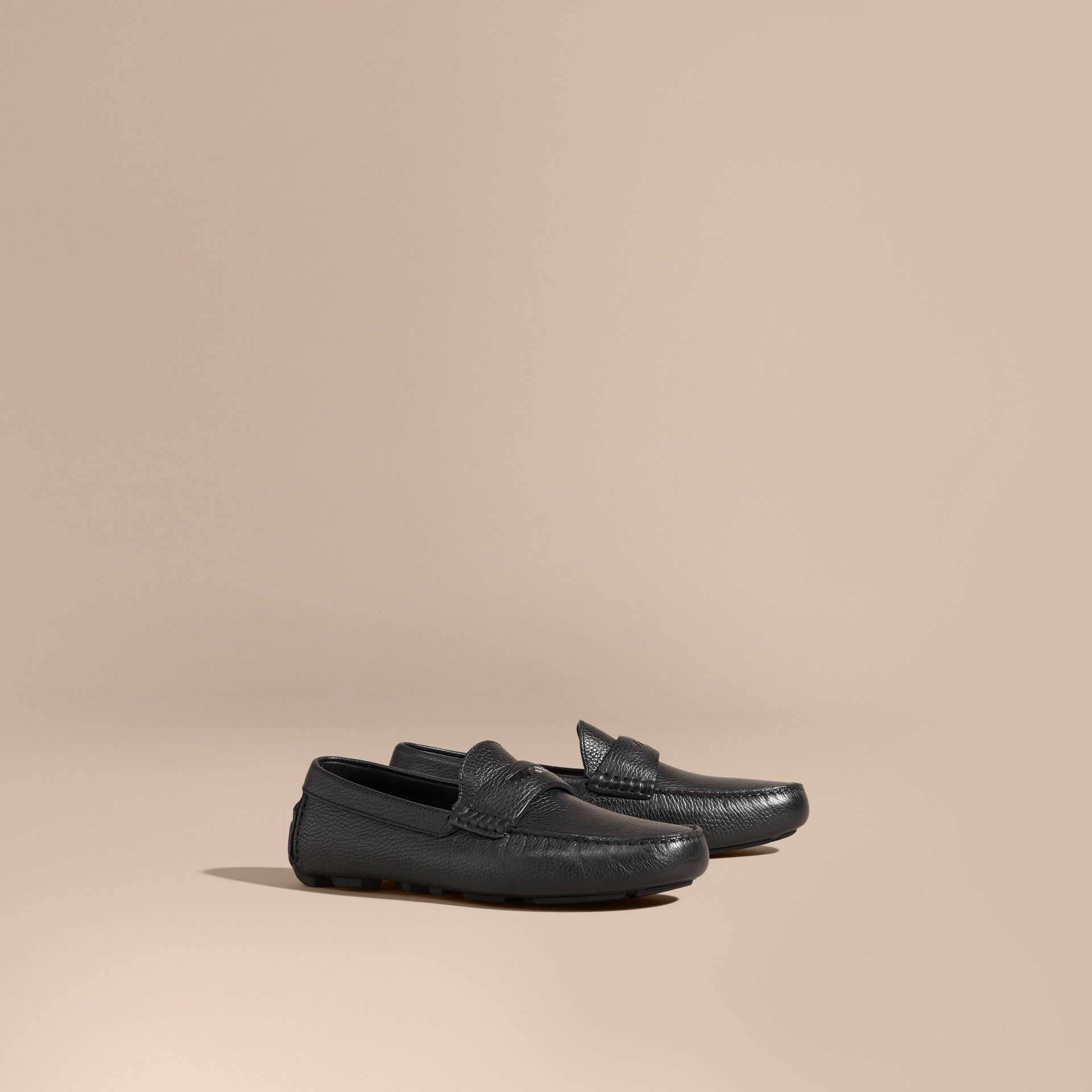 Black Grainy Leather Loafers with Engraved Check Detail Black - gallery image 1