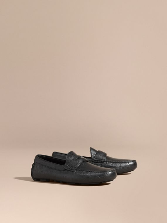 Grainy Leather Loafers with Engraved Check Detail Black