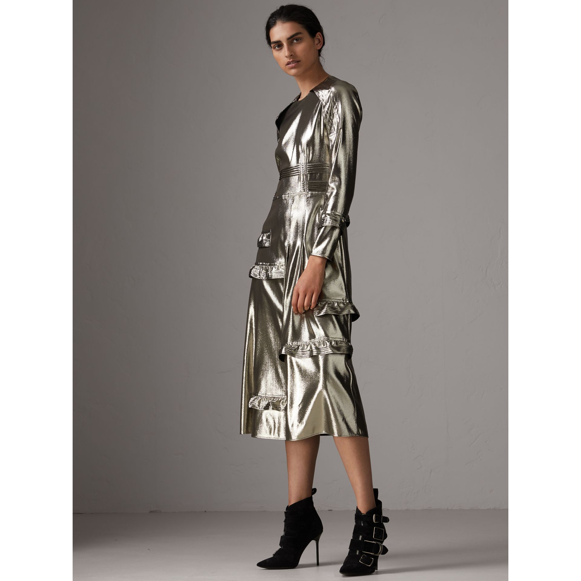 Long-sleeve Ruffle Detail Lamé Dress in Silver - Women | Burberry - gallery image 0