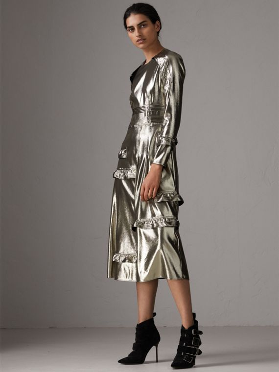 Long-sleeve Ruffle Detail Lamé Dress in Silver