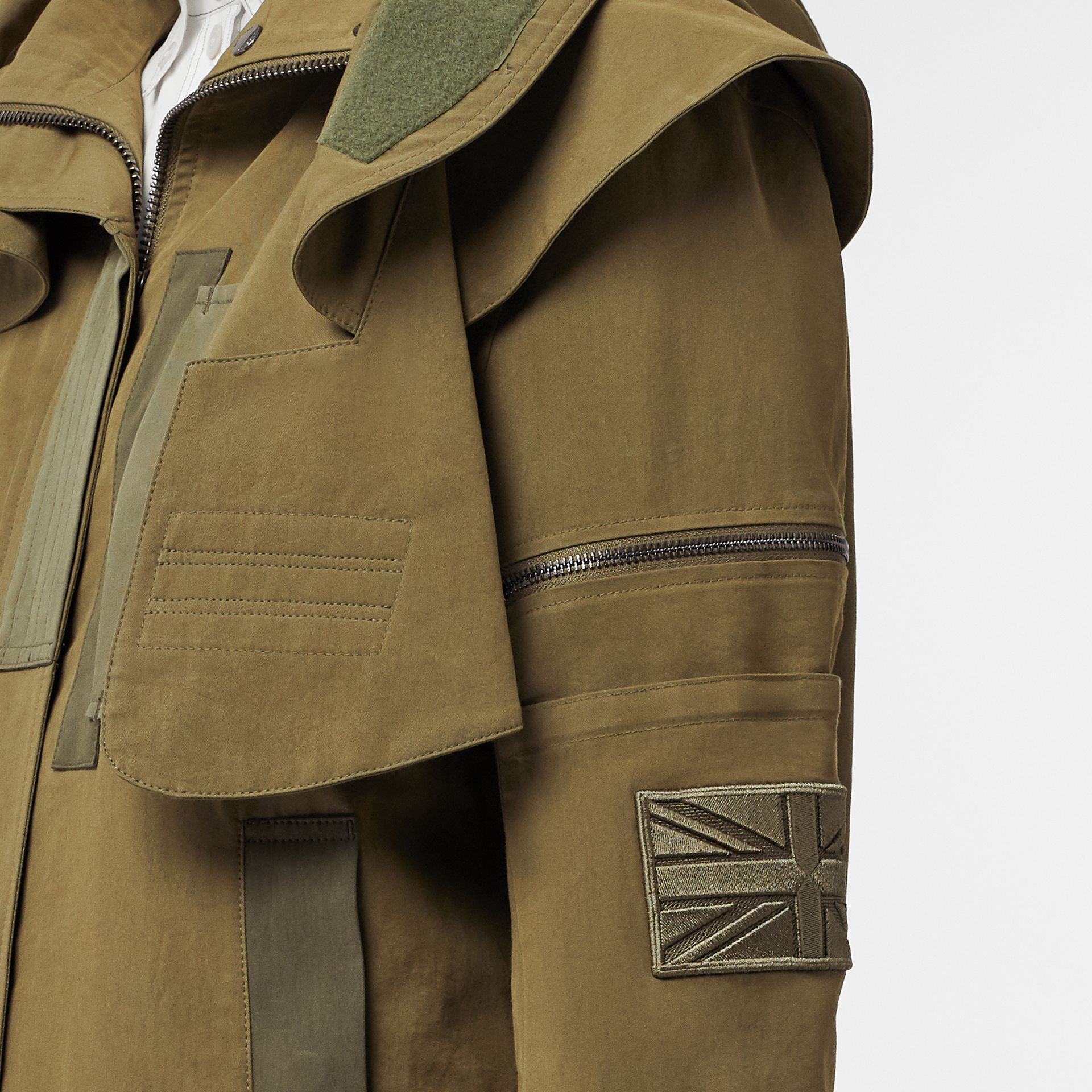 Detachable Hood Cotton Silk Twill Jacket in Khaki Green - Women | Burberry - gallery image 5
