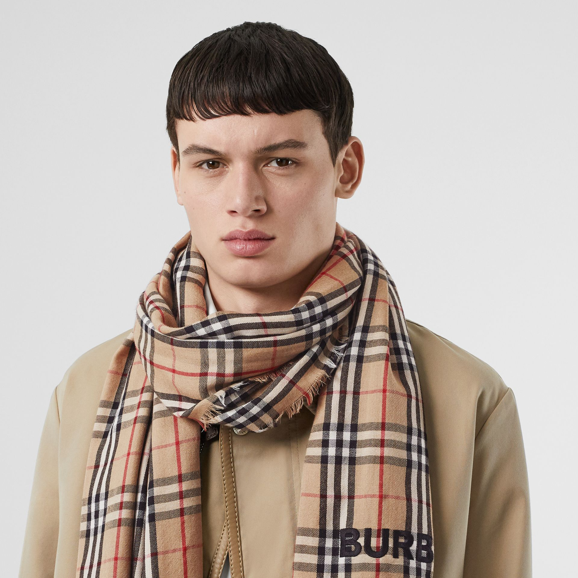 Embroidered Vintage Check Lightweight Cashmere Scarf in Camel | Burberry Singapore - gallery image 3