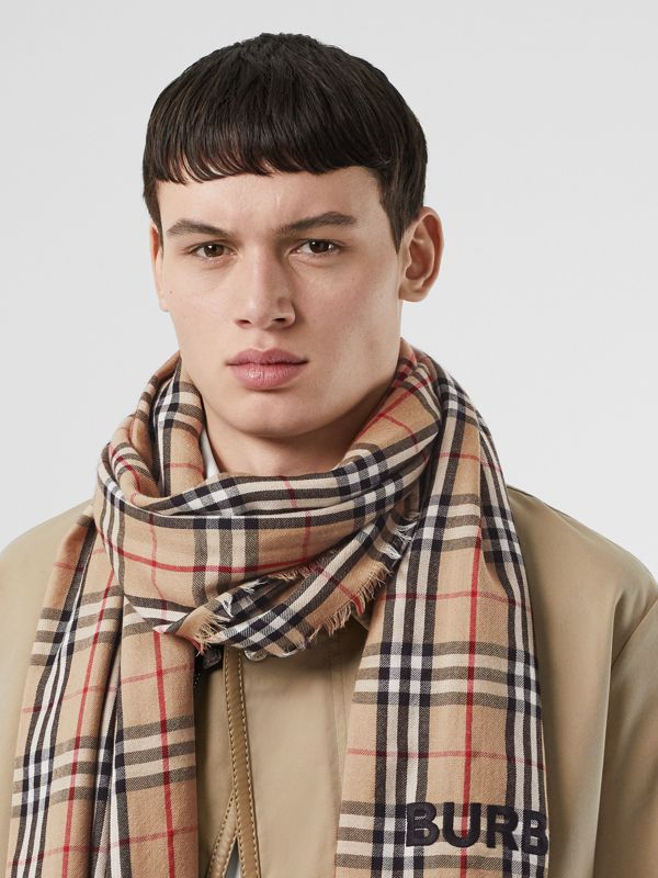 Embroidered Vintage Check Lightweight Cashmere Scarf in Camel | Burberry Singapore - cell image 3