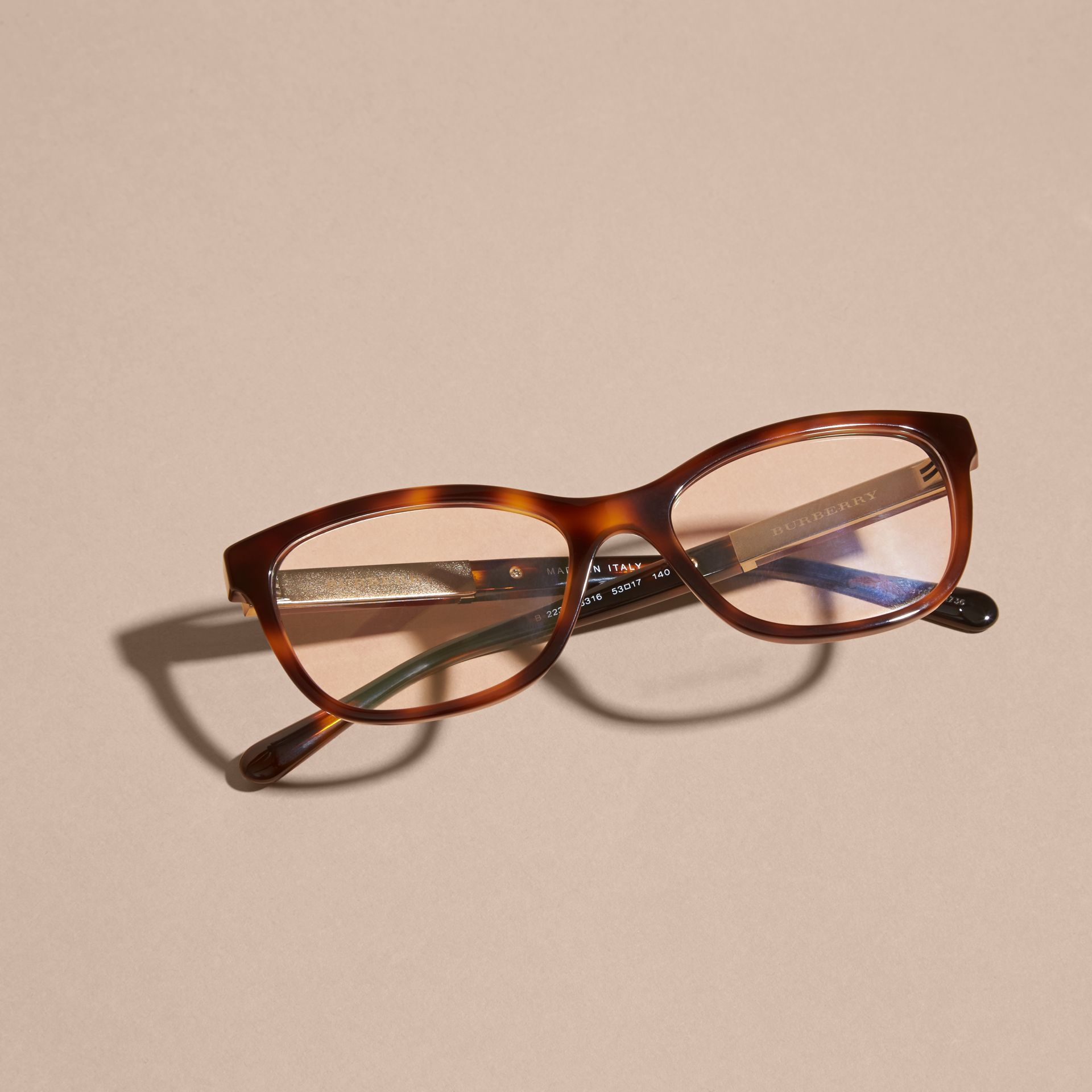 Check Detail Oval Optical Frames Light Russet Brown - gallery image 3