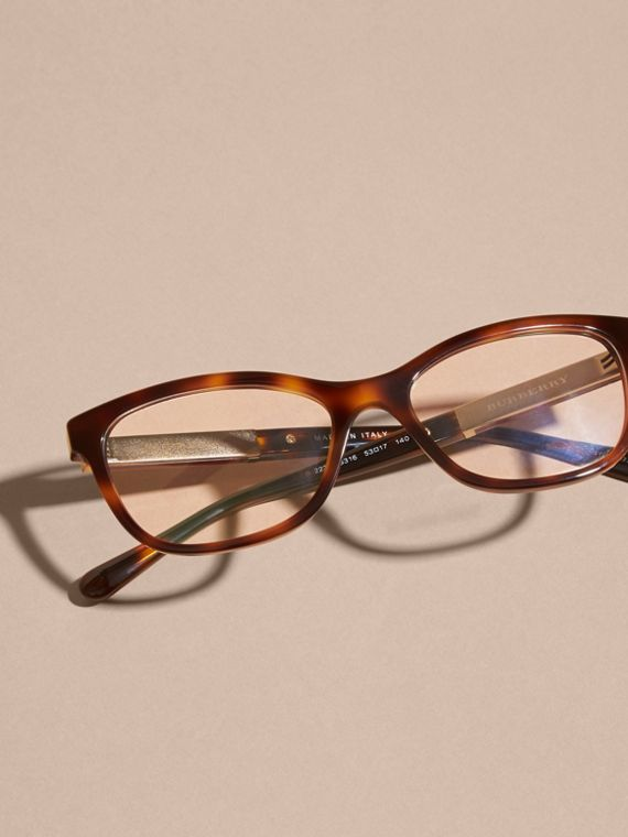 Check Detail Oval Optical Frames Light Russet Brown - cell image 2
