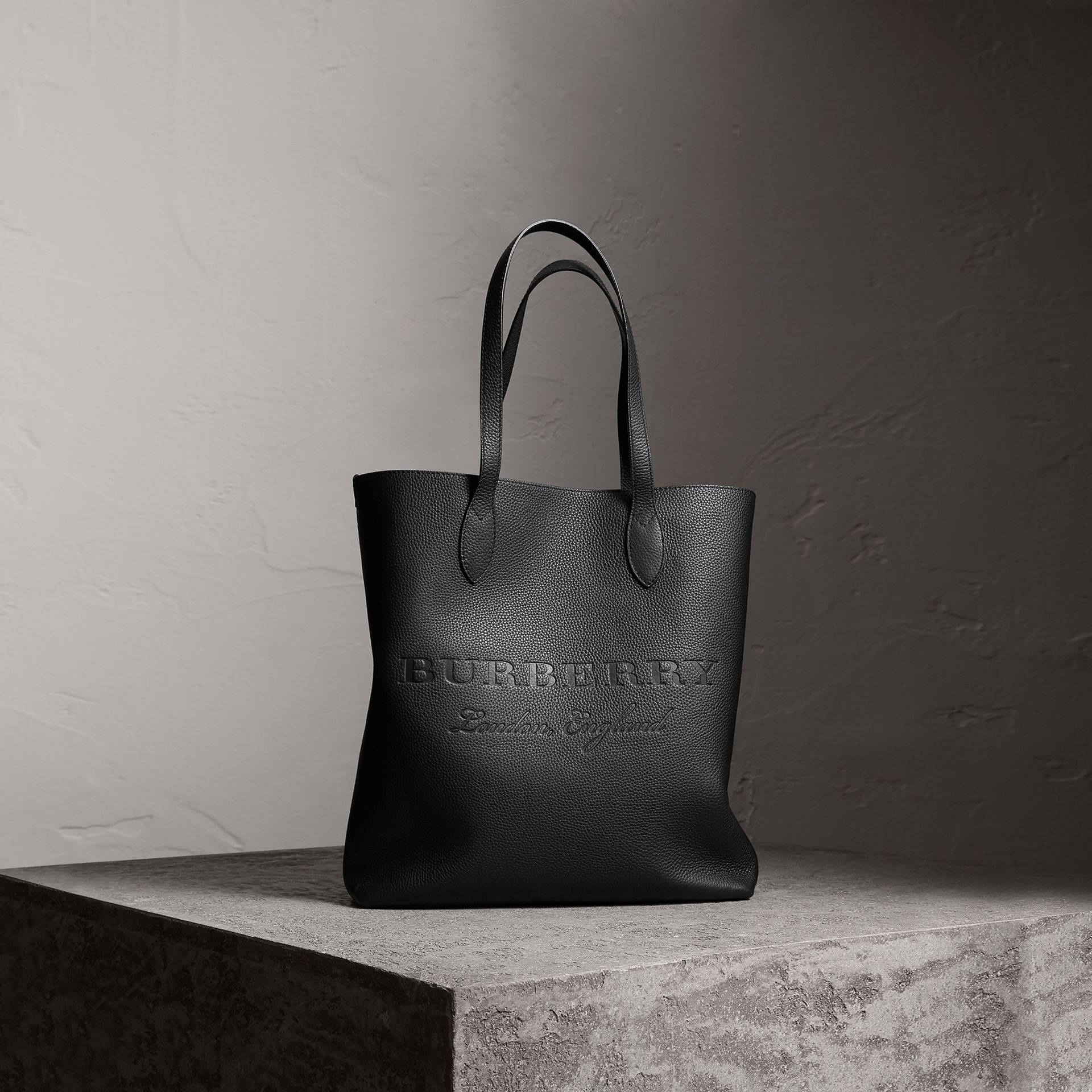 Embossed Leather Tote in Black | Burberry Australia - gallery image 0