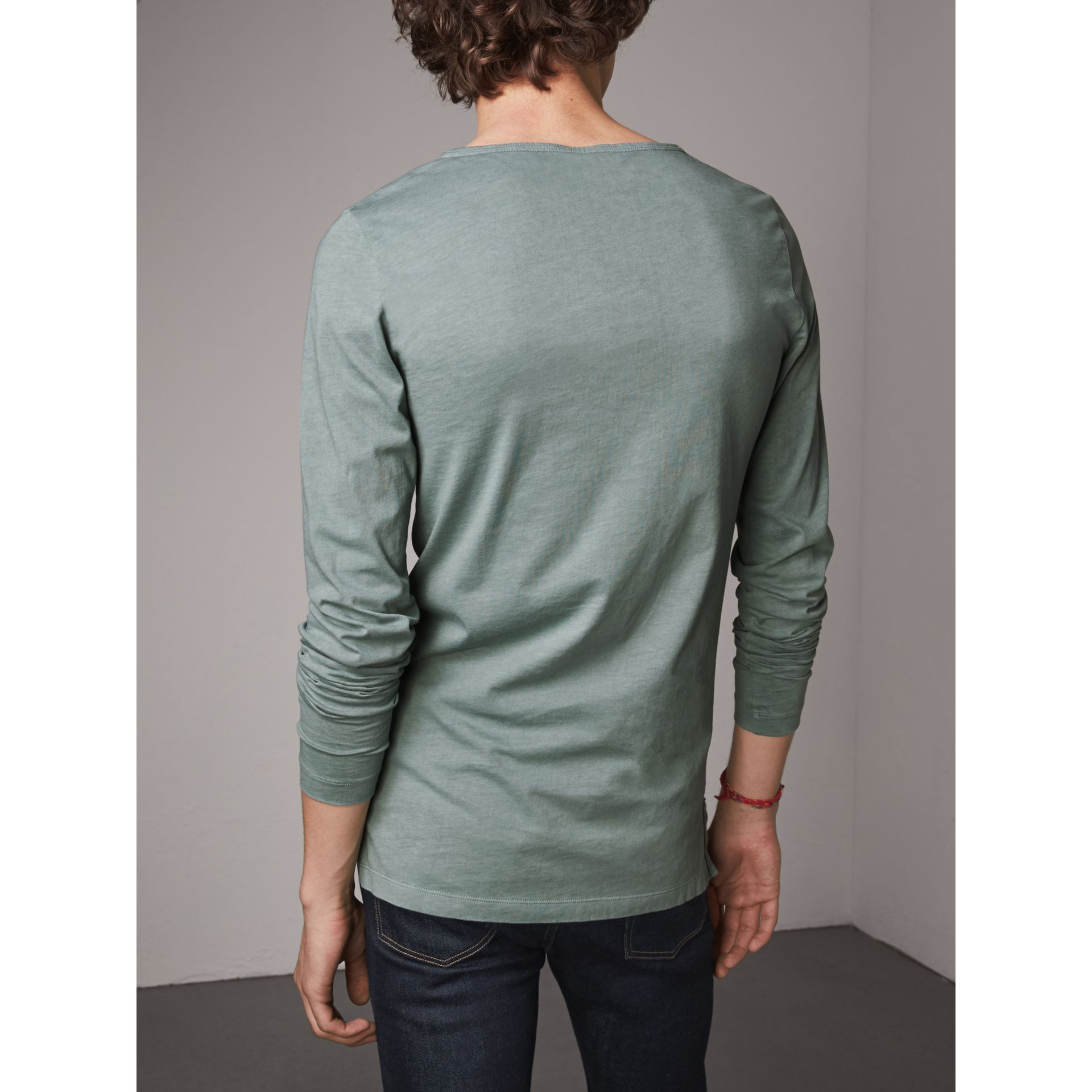Long-sleeve Embroidered Cotton Top in Cyan Green - Men | Burberry United Kingdom - gallery image 2