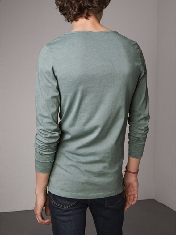 Long-sleeve Embroidered Cotton Top in Cyan Green - Men | Burberry - cell image 2