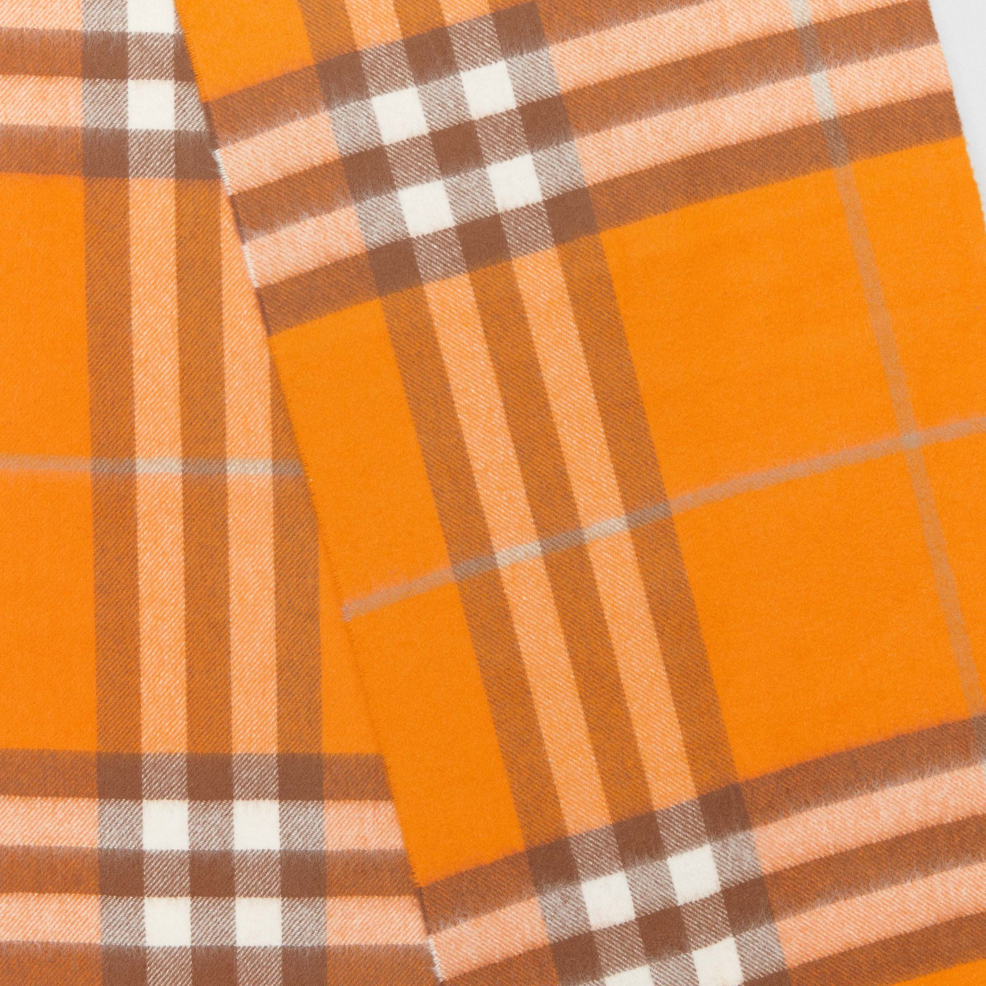 The Classic Check Cashmere Scarf in Orange | Burberry Canada - gallery image 1