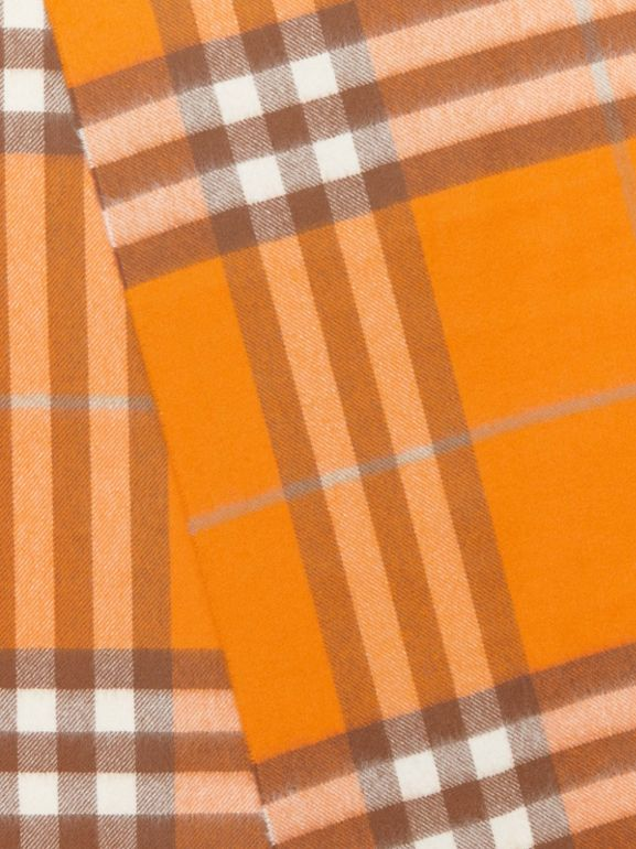 The Classic Check Cashmere Scarf in Orange | Burberry Canada - cell image 1