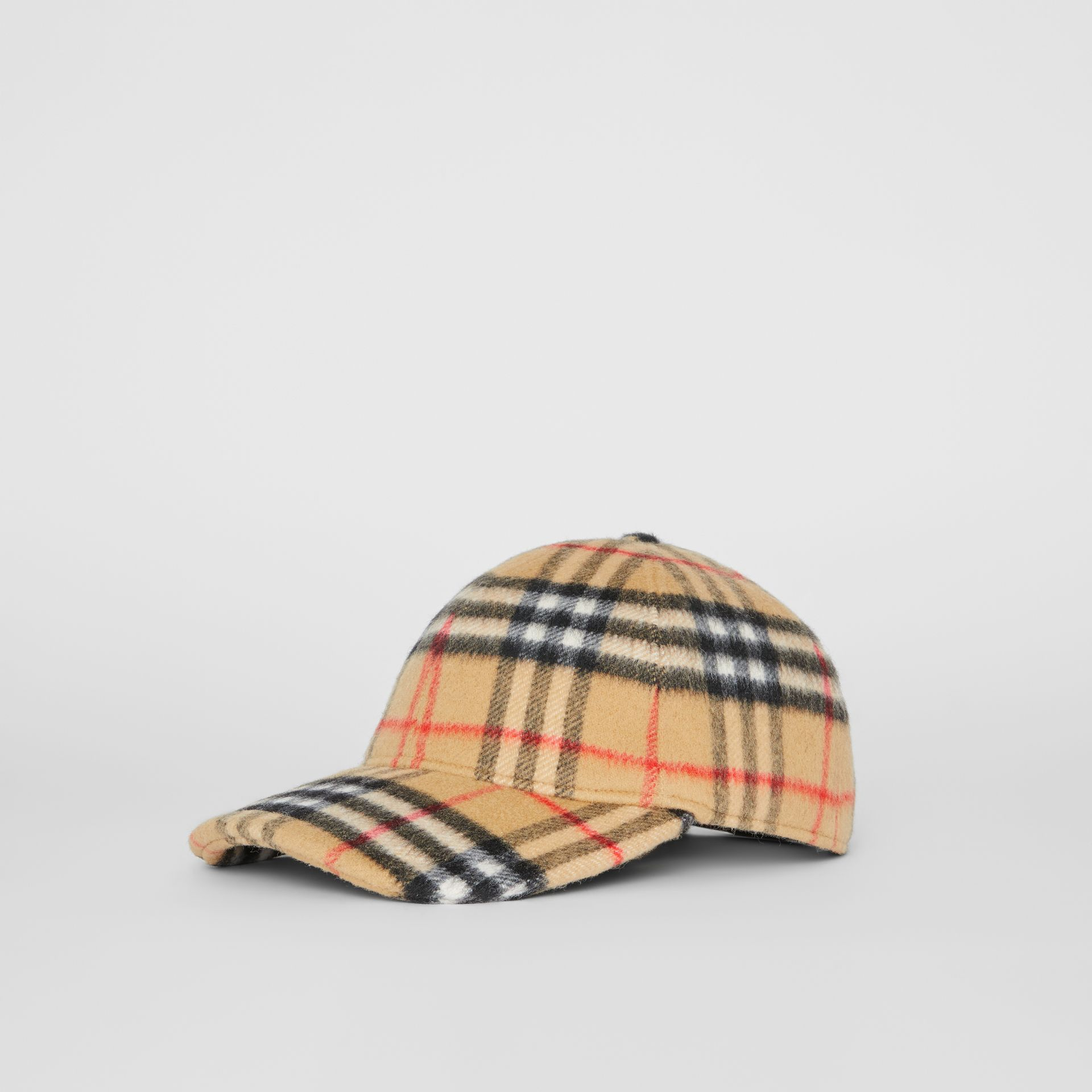 Vintage Check Wool Baseball Cap in Antique Yellow | Burberry United Kingdom - gallery image 5
