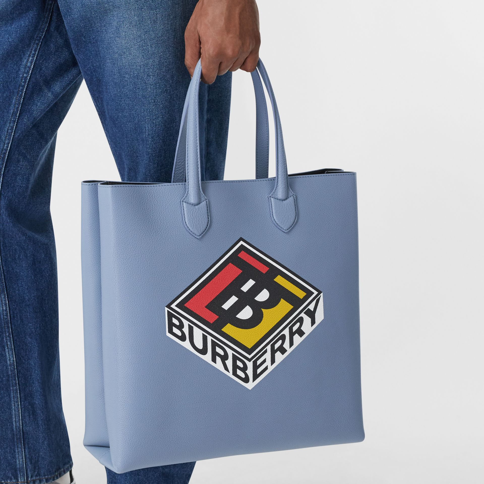 Large Logo Graphic Grainy Leather Tote in Baby Blue - Men | Burberry United Kingdom - gallery image 10