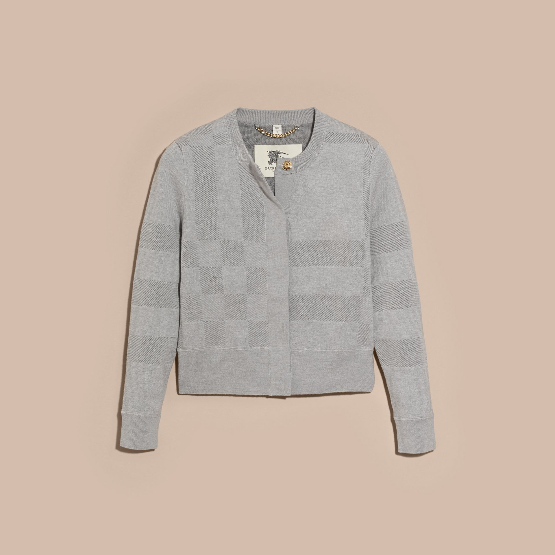 Mid grey melange Check Knit Wool Blend Cardigan - gallery image 3