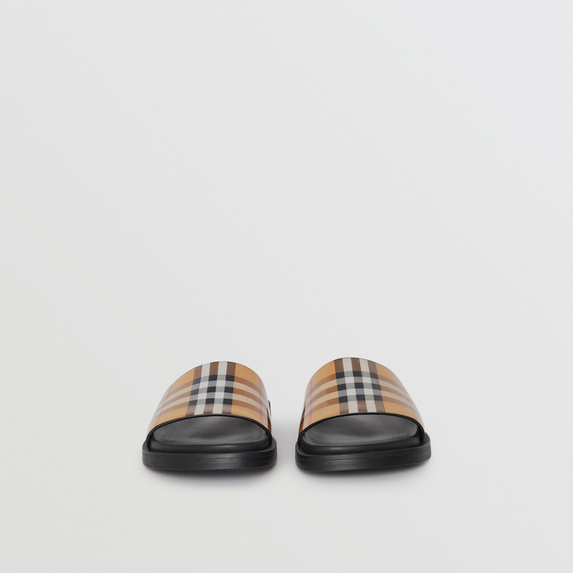 Vintage Check and Leather Slides in Antique Yellow - Women | Burberry United States - gallery image 4