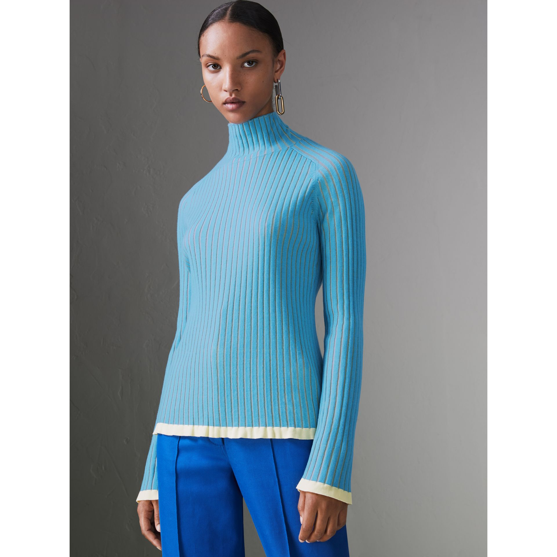 Silk Cashmere Turtleneck Sweater in Pale Blue - Women | Burberry - gallery image 4