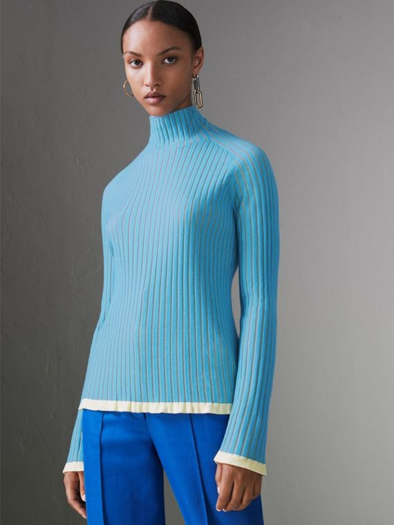 Silk Cashmere Turtleneck Sweater in Pale Blue