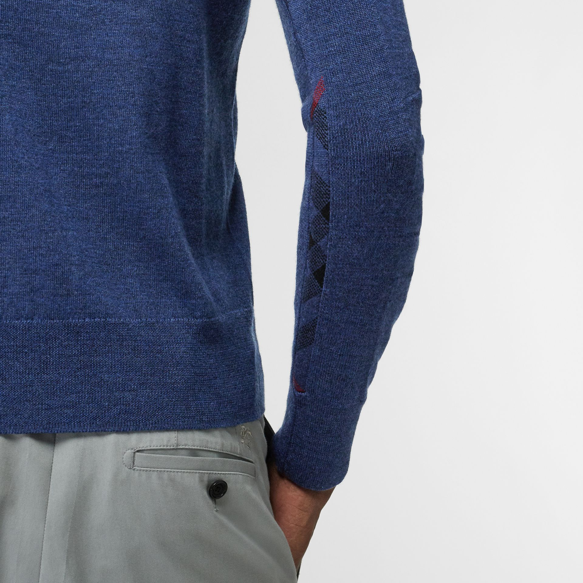 Rib Knit Detail Merino Wool Sweater in Storm Blue - Men | Burberry United Kingdom - gallery image 4