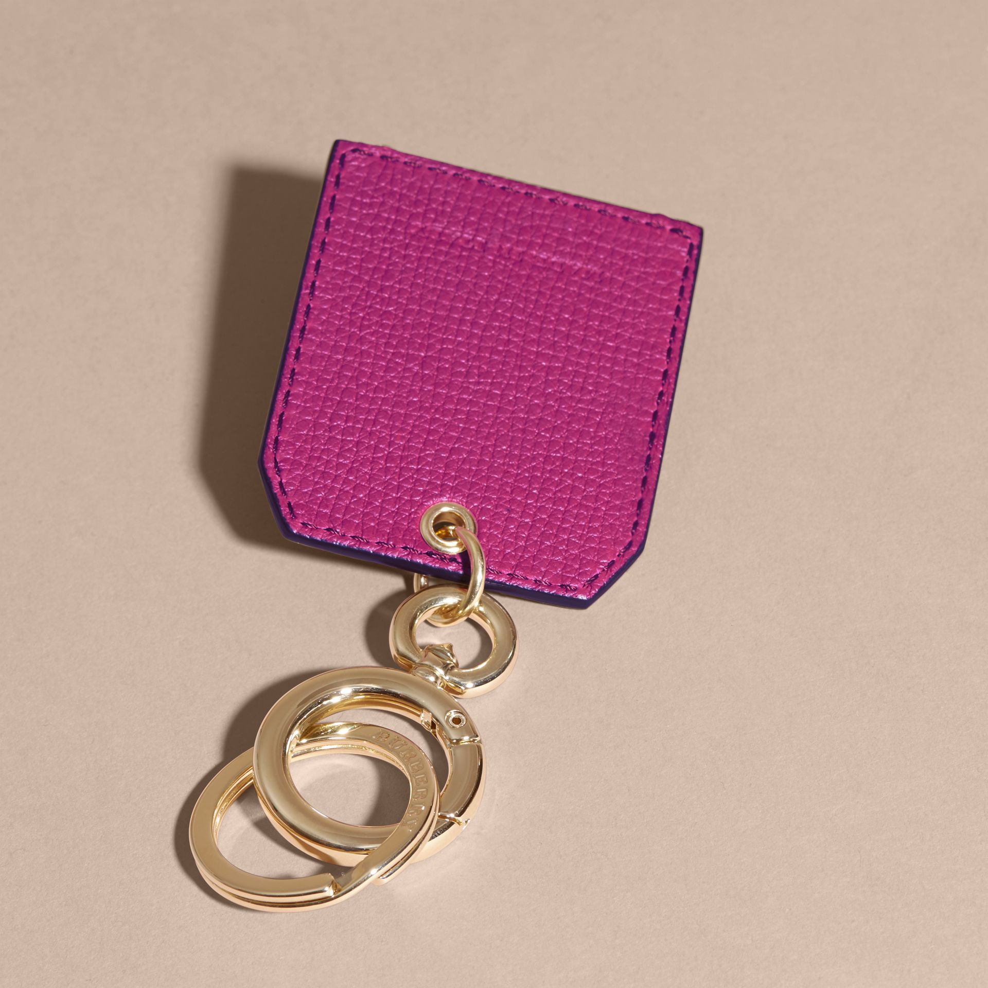 Grainy Leather Key Charm in Brilliant Fuchsia - Women | Burberry - gallery image 4