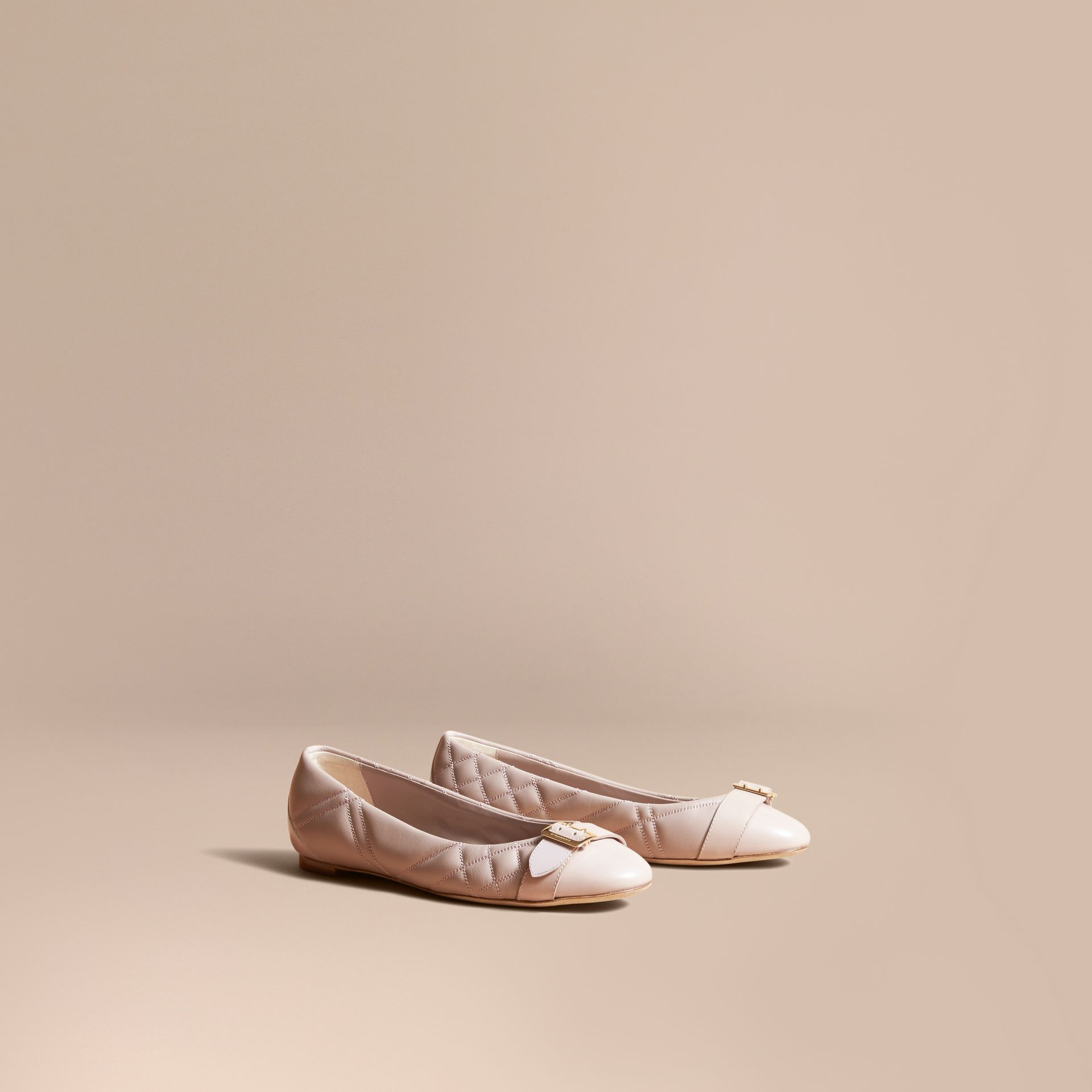 Buckle Detail Quilted Lambskin Leather Ballerinas in Ivory Pink - Women | Burberry - gallery image 1