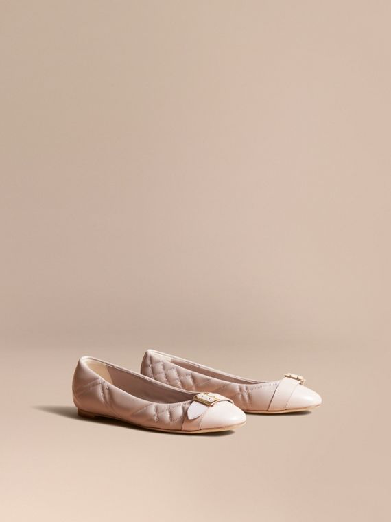 Buckle Detail Quilted Lambskin Leather Ballerinas in Ivory Pink