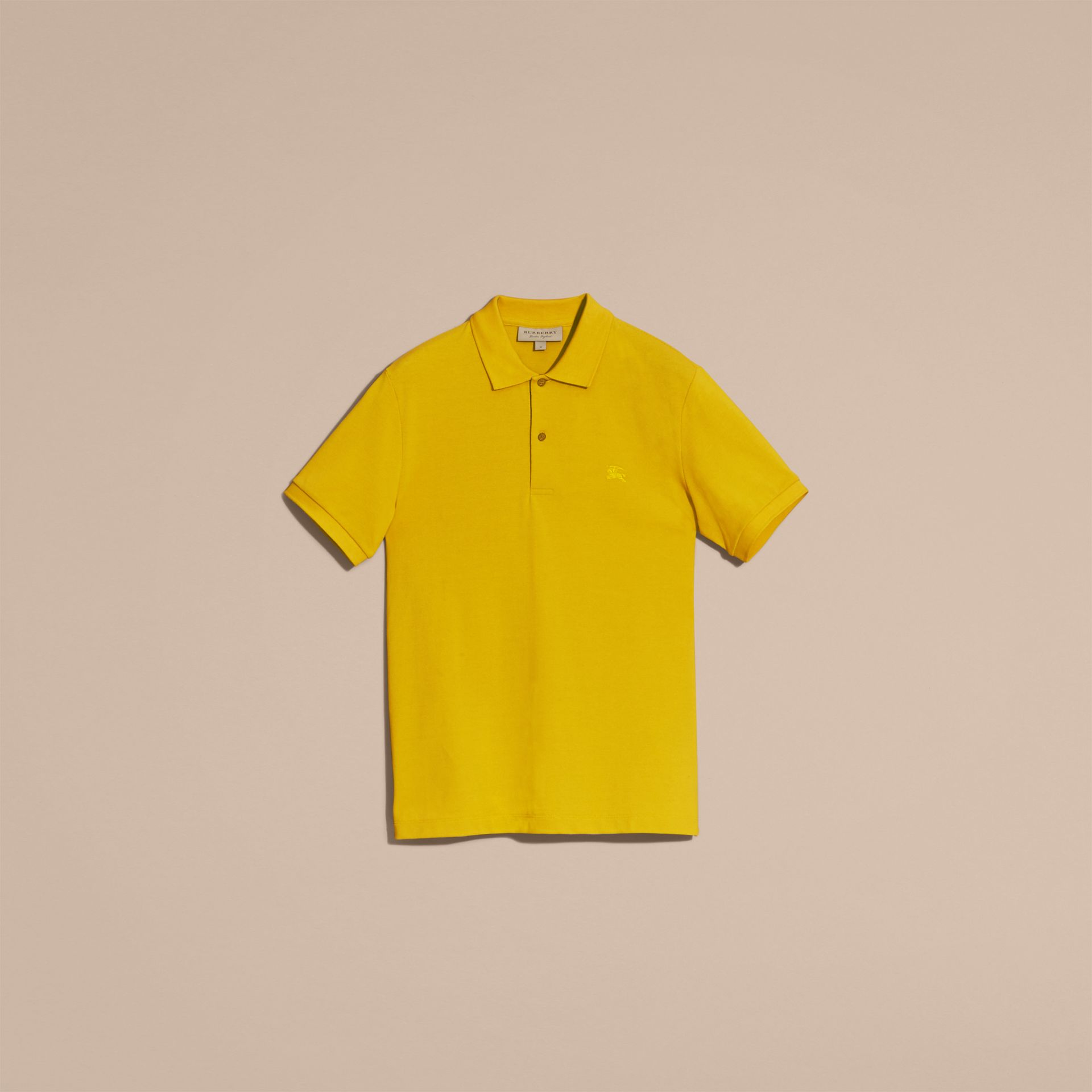 Check Placket Cotton Piqué Polo Shirt in Daffodil - gallery image 4