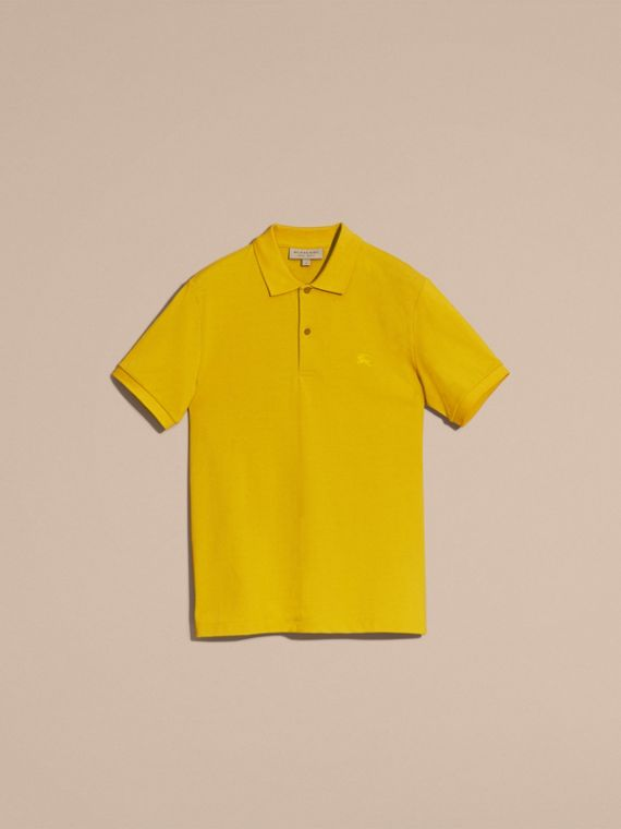 Check Placket Cotton Piqué Polo Shirt in Daffodil - cell image 3