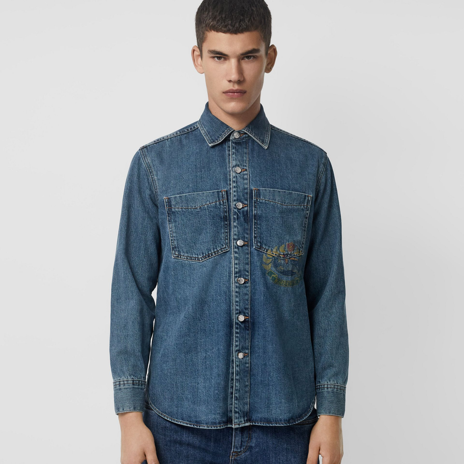 Crest Print Denim Overshirt in Mid Indigo - Men | Burberry United Kingdom - gallery image 0