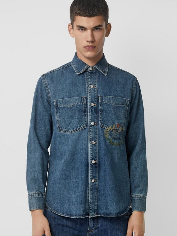 Crest Print Denim Overshirt in Mid Indigo