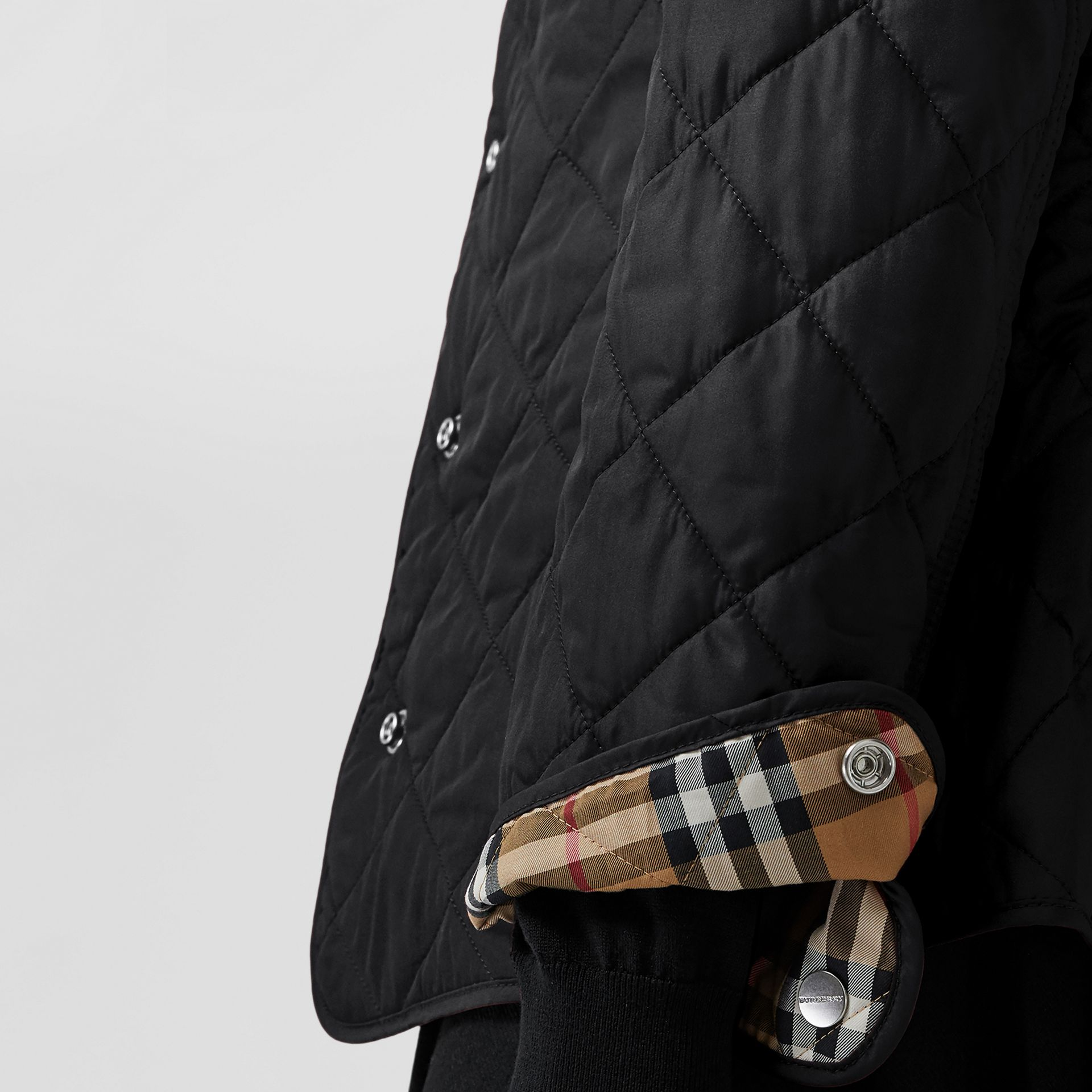 Embroidered Crest Diamond Quilted Jacket in Black - Women | Burberry - gallery image 1