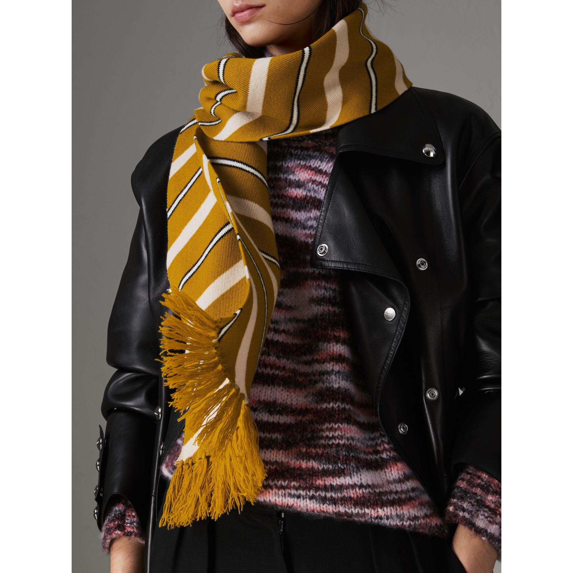 Tri-tone Striped Wool Cashmere Scarf in Dusty Yellow | Burberry - gallery image 4