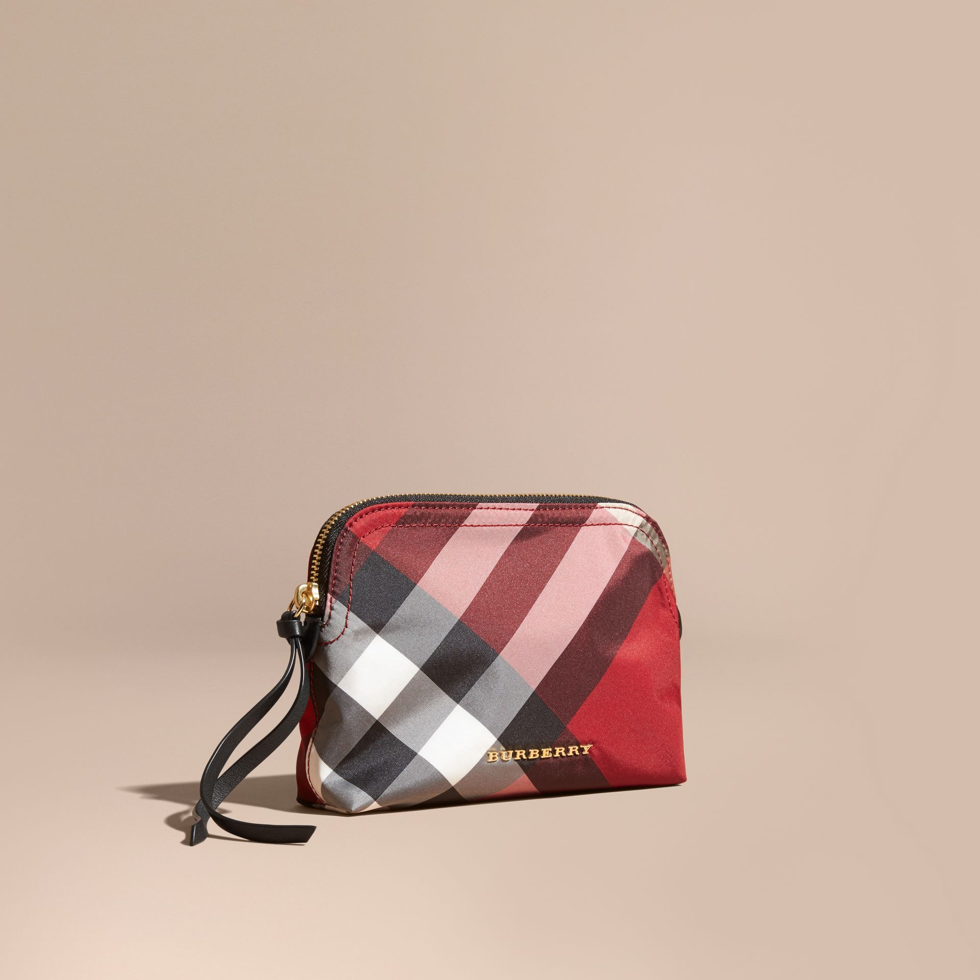 Medium Zip-top Check Technical Pouch in Parade Red - Women | Burberry - gallery image 1
