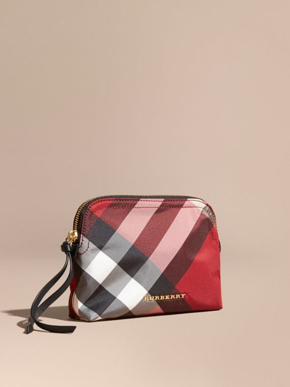 Medium Zip-top Check Technical Pouch Parade Red