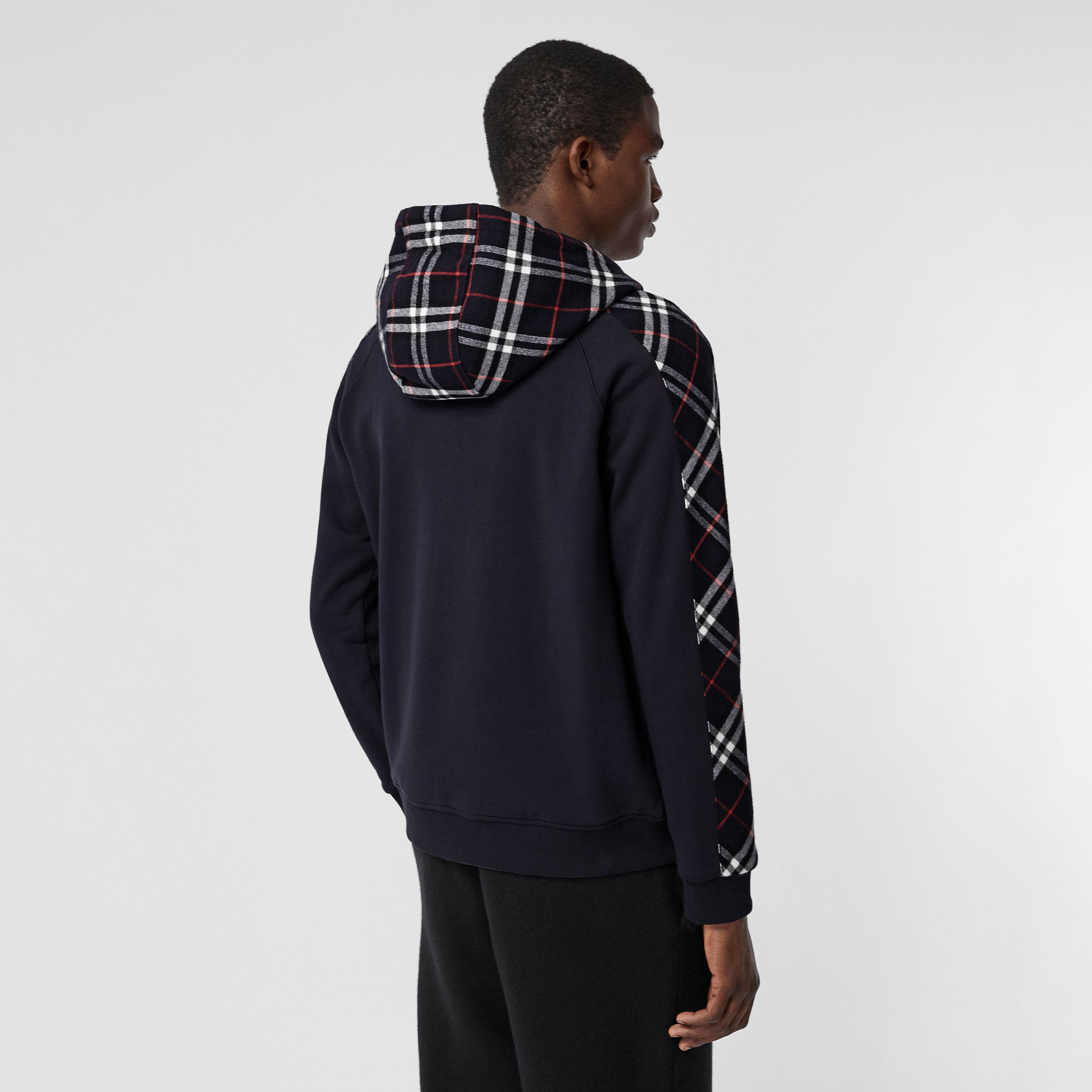 Vintage Check Panel Cotton Hooded Top in Navy - Men | Burberry - 3